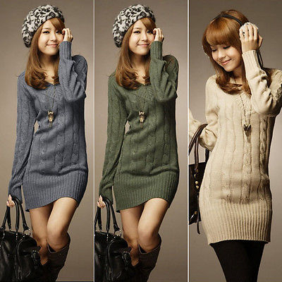 Ladies Long Sleeve Bodycon Pullover Knitted Long Sweater Jumper Dress Tops e2c7f526b1