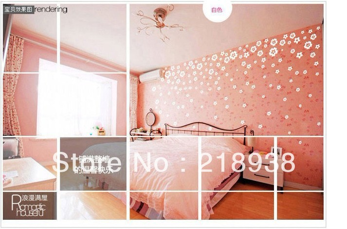 Free shipping Romantic 108 flowers/pcs wall stickers vinyl ...