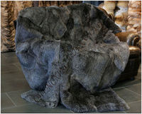 CX D 36A Natural Grey Tapis Real Rabbit Fur Carpet Real Fur Blanket In the Living Room ~ DROP SHIPPING