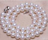 Long 18 8 9mm Genuine Natural White Akoya Cultured Pearl Necklace AAA Top Grade