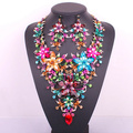 New design big flower bridal jewelry set crystal gold plated prom party wedding statement necklace earring set accessories women