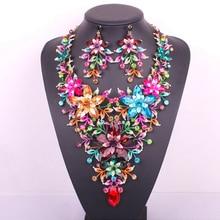 Nuevo diseño grande de la flor de la joyería nupcial conjunto oro cristalino plateado declaración de fiesta de la boda del pendiente del collar accesorios de las mujeres