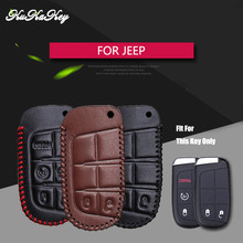 Genuine Cow Leather Car Key Fob Case Shell Skin Protected Cover For Jeep Wrangler Patriot Grand Cherokee Compass Liberty Key Bag