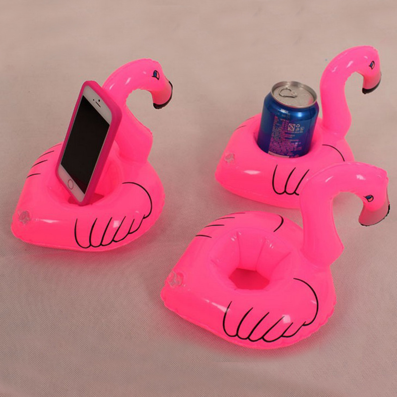 3pcs PVC Flamingo Floating Inflatable Drink Cell Phone Holder Stand Pool Event Baby Shower Toy Baby Kids Party Baby Bath Toys