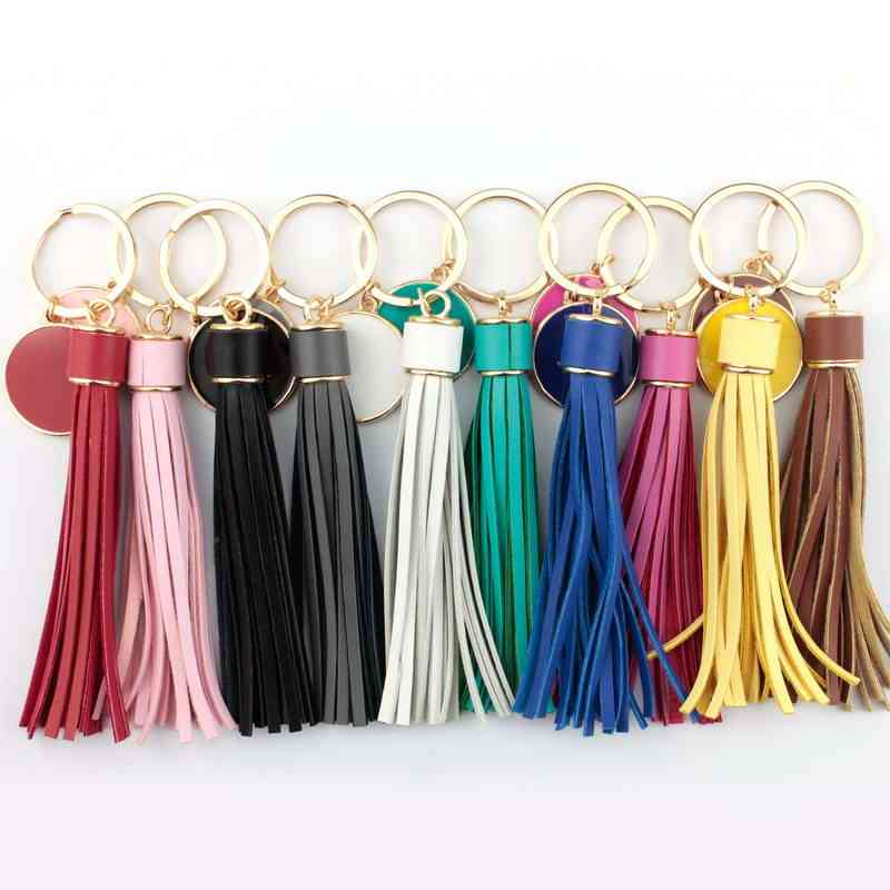 Personalized Gold Leather Tassel Keychain Women Bag Charm Monogram Blank Key Ring Valentines Day Gift Enamel Jewelry Wholesale