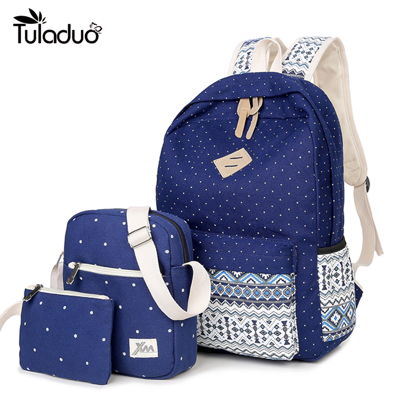 цены  2017 Hot Printing Women Backpack Cute Canvas Bookbags School Bag for Teenager Girls 3 Pcs/Set Bags High Quality Travel Backpacks