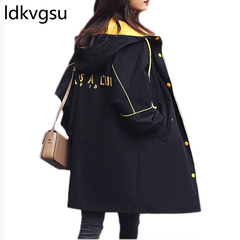 Gabardina de primavera para Mujer 2019 nueva moda con capucha Simple prendas de vestir de calle suelta coreana gabardina larga Mujer oto o cortavientos f013