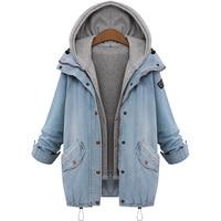 7XL Jeans Denim Jacket Women Hooded Drawstring Boyfriend Two Pcs Coat Women Long Sleeve Single Breasted Plus Size Bomber Jacket
