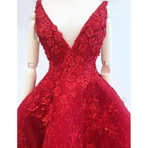 Image 5 - Stunning Evening Dresses Appliques abiye Formal Gowns Vestido Longo Appliques Hi Low Evening Dress Red robe de soiree