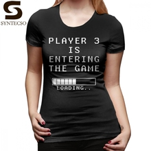 Pregnancy Announcement T-Shirt Player 3 Is Entering The Game T Shirt Large O Neck Women tshirt Black Ladies Tee