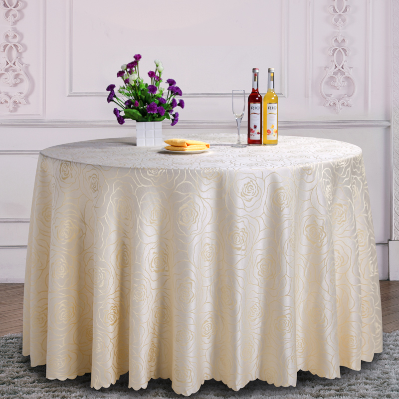 Luxury Ivory Pattern Polyester Round Table Cloth