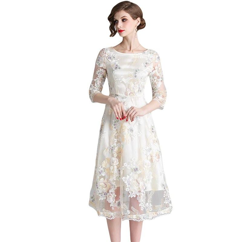 f908feea1558e Hot Sale] Dingaozlz New Mesh embroidered Lace dress Elegant Slim ...