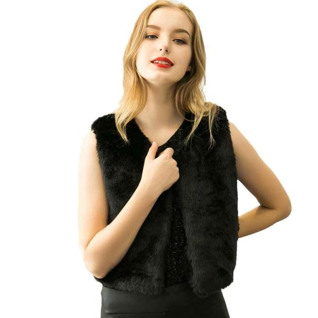 Vest Women Fashion Faux fur Sleeveless Outerwear Veste Femme Chalecos Mujer Women Vest Colete Feminino A2535