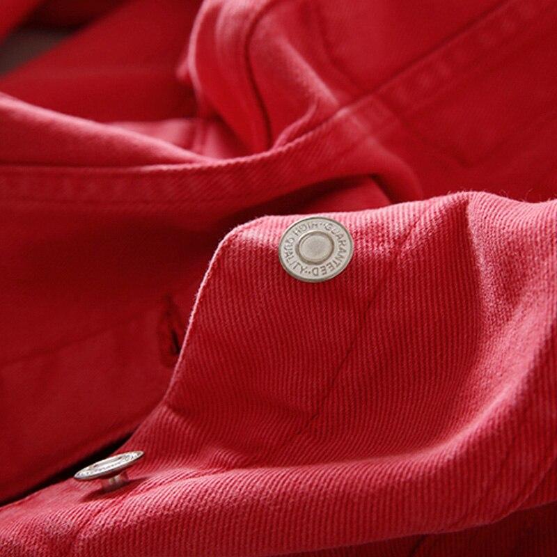 2018 red Mince rose Befree Green En Base Manches Automne Lavé Longues Veste Manteaux Hiver black Vêtements Vintage De À Jean Pink rqrHnU7w