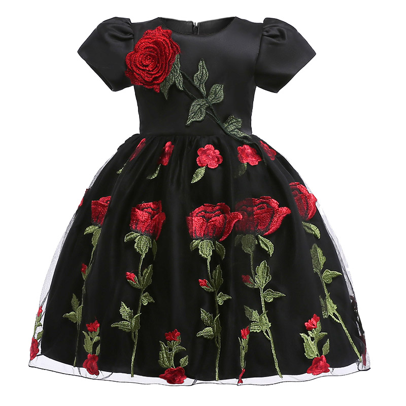 Retail High Quality Embroidery Flowers Girls Formal Evening Prom Gown Dress Elegant Rose Flower Girls Dress L5009