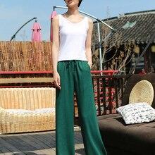 дешево!  5 цвет широкие брюки женщины шнурок прямые льняные повседневные брюки летние твердые женщины длинны�