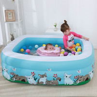 150x110x50cm Kids Inflatable Pool Children's Home Use Paddling Pool Inflatable Square Swimming Pool