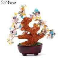 KiWarm 6 Cal Kolorowe Gem Stone Money Tree Feng Shui awenturyn Kwarcem dla Bogactwo Pieniądze Dom Pokój Craft Ornament prezent