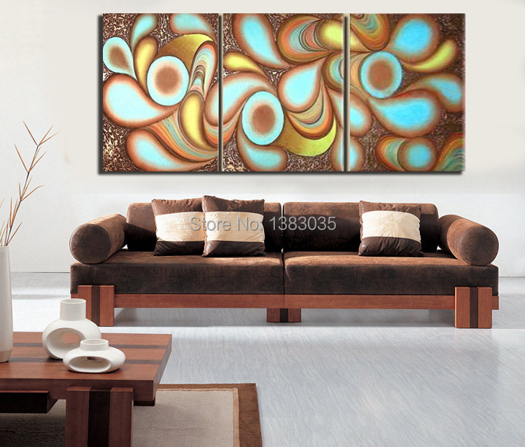 Merveilleux Hand Painted Modern Canvas Painting Oil Picture 3 Piece Contemporary  Abstract Wall Art Set Living Room Decoration In Painting U0026 Calligraphy From  Home ...