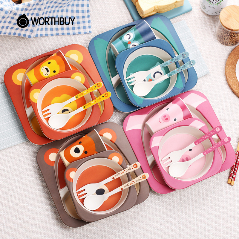 WORTHBUY Cartoon Kids Dinnerware Set Animal Pattern Children Tableware Set Eco-Friendly Bamboo Dinner Set Kitchen Accessories