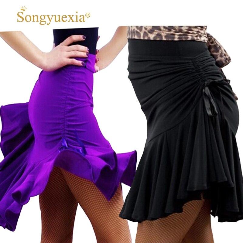 2017 New Sexy Latin Salsa Tango Rumba Cha Cha Ballroom Dance Dress Skirt Black Purple Square Dance Latin Dancewear for Women