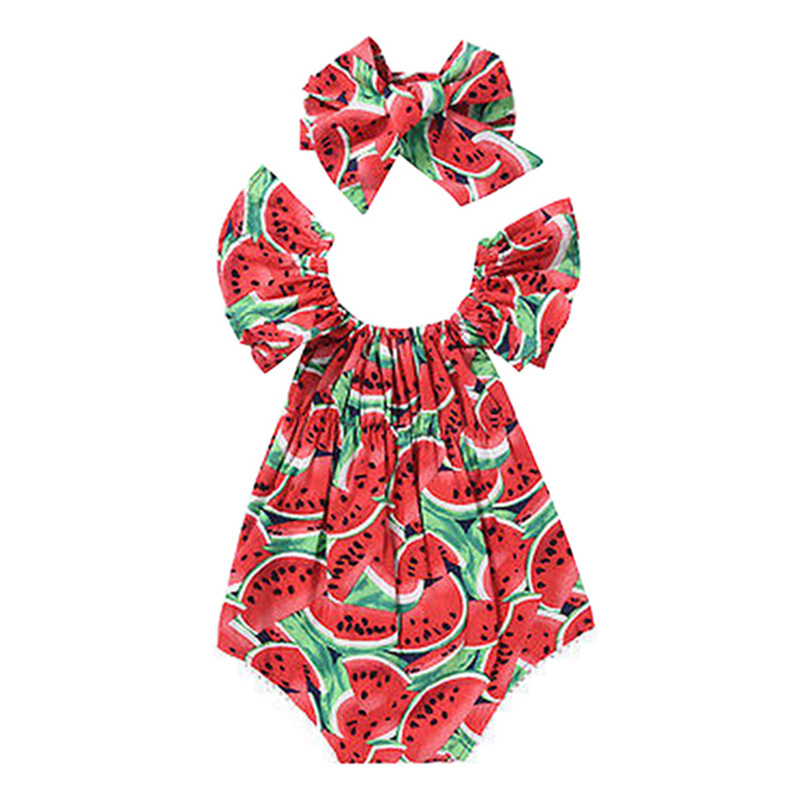 Newborn Kids Baby Girls Clothes Watermelon Print Romper Playsuit Summer Jumpsuit + Headband Set M09