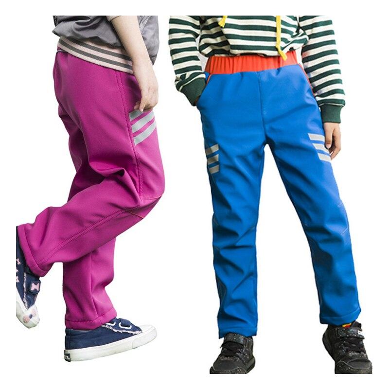 Image 2 - Boy Girls Kids Winter Trekking Fish hiking softshell pants Children outdoor fleece Sk trousers waterproof warm camp 110 170cm-in Hiking Pants from Sports & Entertainment