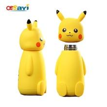 230 ml Pokemon Pikachu Edelstahl Saugnapf Thermobecher Isolierte Cartoon Isolierflaschen Thermoskannen Reise Trinken Wasserflasche