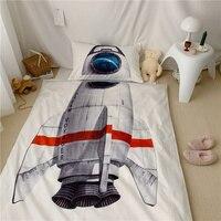 Luxury Egypt Cotton 3D Rocket ship Cartoon Bedding Set For Kids digital printing Duvet Cover Sets Bed Sheet Twin Queen Size 4pcs
