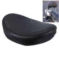 Black Universal Motorcycle Rear Passenger Backrest Sissy Bar Cushion Pad For Harley Custom Chopper Honda Yamaha