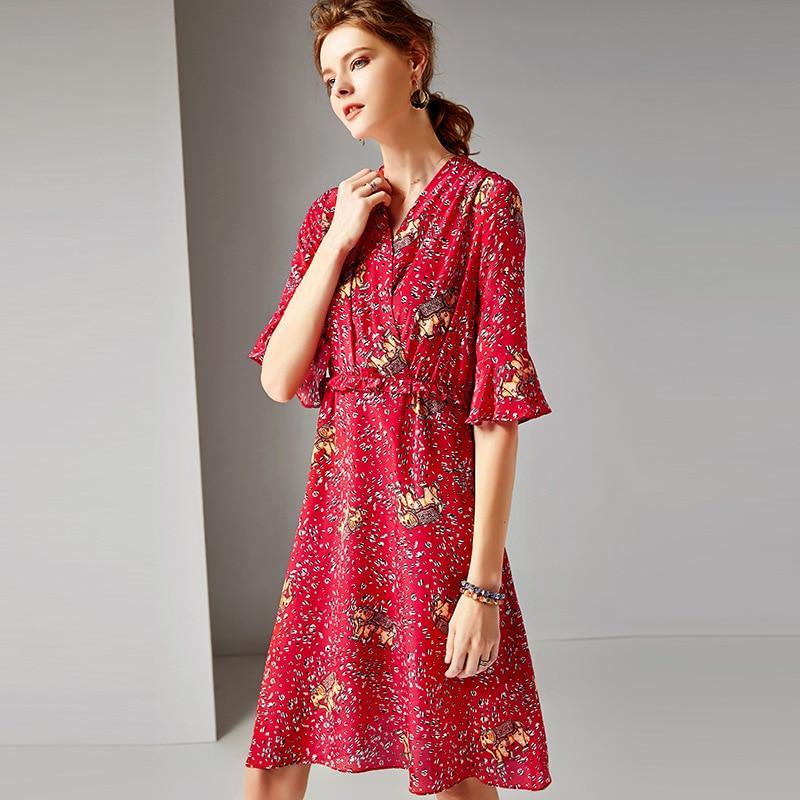 R10410 Impression À 2019 Lignes Femmes cou rouge Et V Soie 100 Robes De Blue Flare Robe Printemps Élégante D'été Réel Manches qU48AYU
