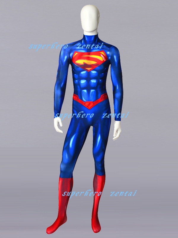 Free Shipping 3D Printing NEW 52 Superman Superhero Costume Zentai Male Bodysuit Superman Tight Halloween Cosplay Costume
