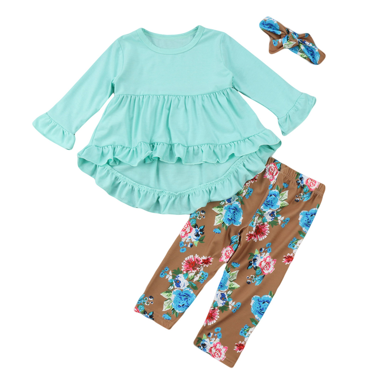 2017 New Fashion Children Girls Clothes blue ruffle t shirt Tops + floral pants Headband 3PCS Toddler Kids Clothing