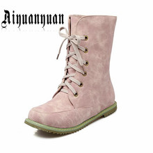 2017 mujeres nuevo estilo de botas de invierno de Gran Tamaño 40 41 42 43 44 45 46 47 48 49 50 51 52 diseño con cordones zapatos de cuero de LA PU ENVÍO GRATIS