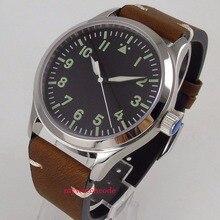 Bracelet en cuir saphir noir à cadran stérile de 42mm avec bracelet en cuir 21 bijoux
