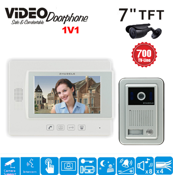ZHUDELE Home 7 LCD monitor Speakerphone intercom Color Video Door Phone(1camera+1monitor) doorbell support CCTV Camera