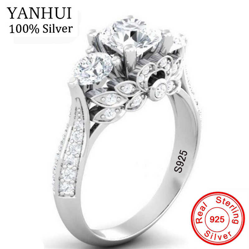 YANHUI טבעי מקורי כסף רטרו טבעות פרחים לנשים למעלה 5A תכשיטי חתונה כסף סטרלינג מעוקב Zirconia טבעת 925 J066
