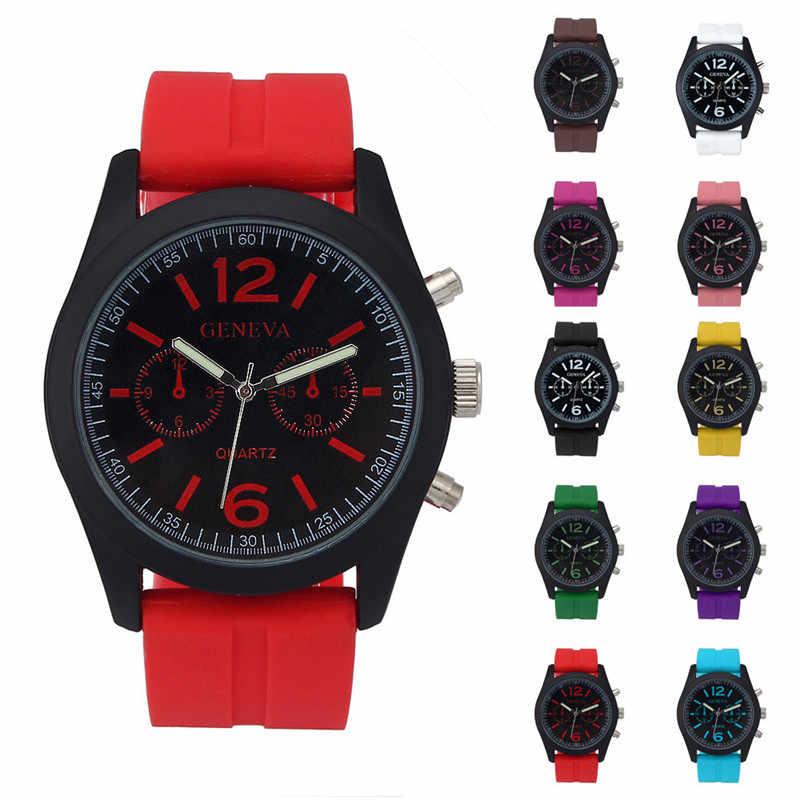 Geneva модные часы унисекс силиконовые Аналоговые Кварцевые Спортивные наручные часы женские мужские деловые для мужских и женских часов relogio masculino