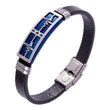 Casual Leather Bracelet Men Jewelry Heartbeat Bracelet Stainless Steel Bracelet Bangles Male Wrist Band Best Gifts For Men Pw
