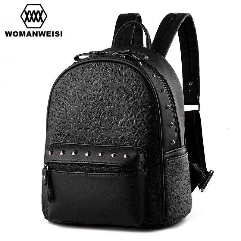 2017 Spring Design New Brand Backpack Women Zipper Leather Backpacks For Teenage Girls Female Travel Bags Bagpack Punk Style
