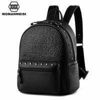 2018 Spring Design New Brand Backpack Women Zipper Leather Backpacks For Teenage Girls Female Travel Bags Bagpack Punk Style
