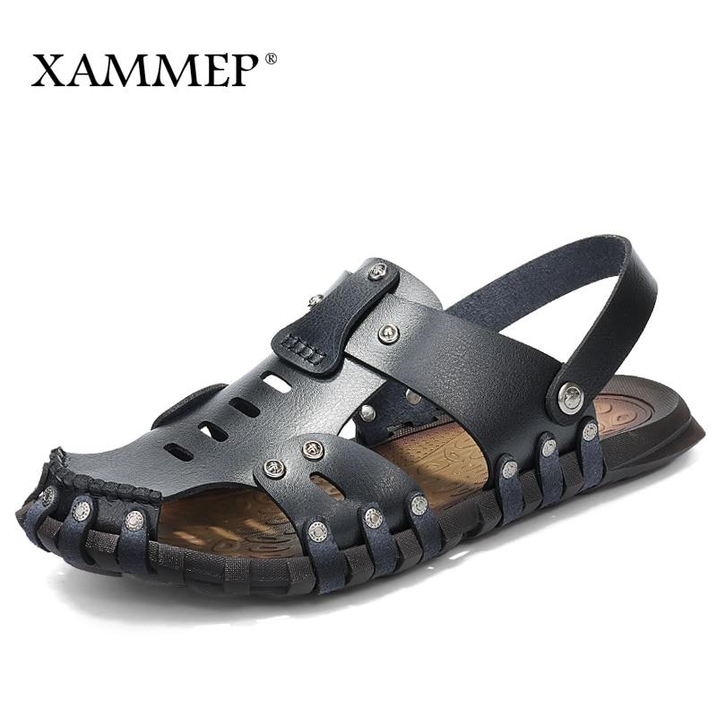 Xammep Men Sandals Men Beach Shoes Genuine Split Leather Brand Men Casual Shoes Men Slippers Sneakers Flip Flops Summer Shoes