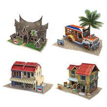 CubicFun Cardboard Puzzle Models Toy DIY Southeast Asia House 3D Assembling Model Educational Toys For Children(China)