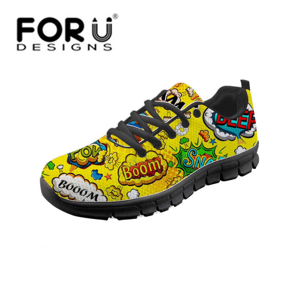 FORUDESIGNS Fashion 3D Graffiti Printing Women Casual Flat Sneakers Summer Outdoor Vulcanized Shoes Lace-up Comfortable Footwear