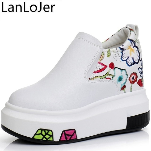 890d9794703 Platform Shoes Women White Black High Heel Sneakers Height Increase 10cm  Wedges Shoes for Women Ladies Trainers Canvas Shoes
