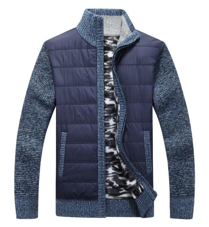 2019 Neue Männer Dicken Pullover Mantel Männlichen Herbst Winter Unten Sweatercoat Schwarz Blau Grau Zipper Pullover Jacke Oberbekleidung M-3xl