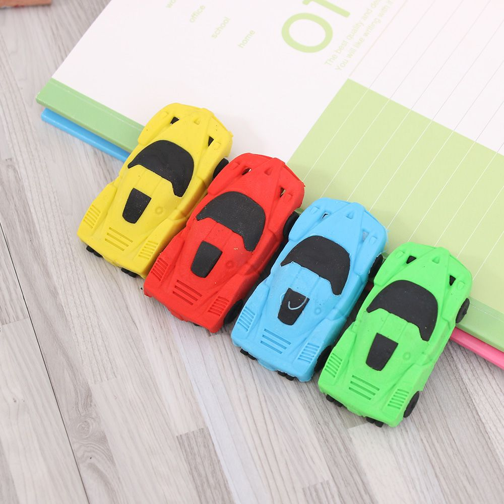 1PCS Novelty 3D Small Car Rubber Eraser Kawaii Creative Stationery School Office Supplies Gifts For Kids Boy Toy