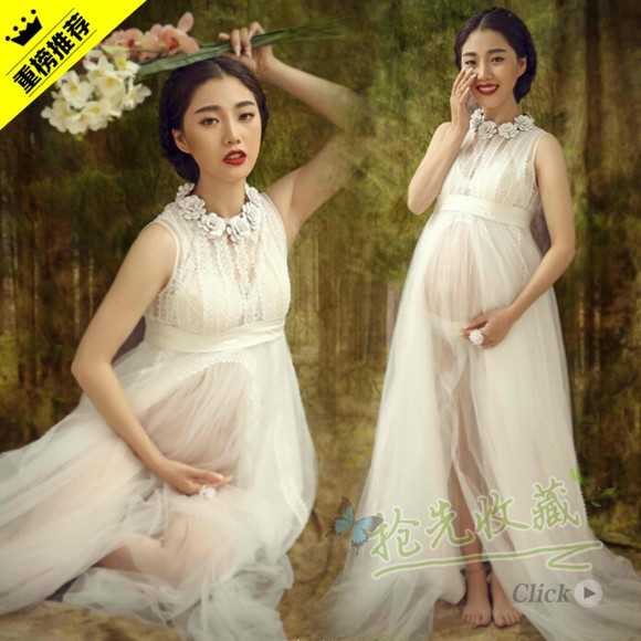 2017 Best White Maternity Long Lace Dresses Pregnant Photography Props Fancy Pregnancy Photo Shoot Clothes In From Mother Kids On