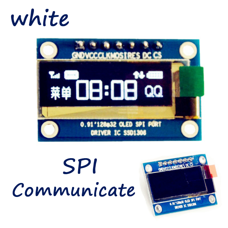 0.91 Inch SPI 128x32 White OLED LCD Display DIY Module SSD1306 Driver IC DC 3.3V-5V Compatible For Arduino PIC