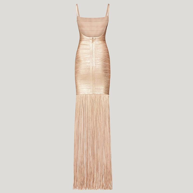 Image 4 - Deer Lady 2019 New Summer Maxi Bandage Dress Tassels Women  Bandage Dress Sexy Fringe Club Dress Vestidos Celebrity Evening  PartyDresses